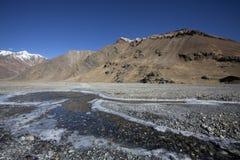 在高处的冻水Zanskar谷,拉达克,印度 库存图片