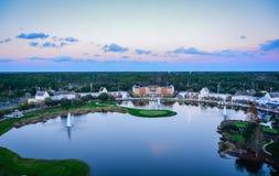 在高尔夫球区-世界高尔夫球名人堂- Ponte Verde, F的黄昏 图库摄影