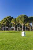 在高尔夫球场的一个发球区域的标志 免版税库存图片