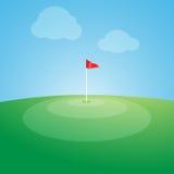 在高尔夫球场的旗子 免版税图库摄影