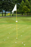 在高尔夫球场的白旗 免版税库存图片