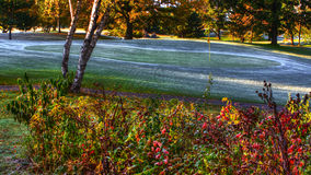 在高尔夫球场的秋天颜色hdr的 免版税库存照片