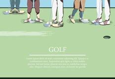 在高尔夫球场的高尔夫球运动员feets 向量例证