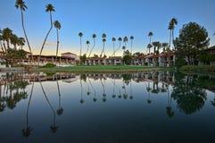 在高尔夫球绿色湖棕榈树附近 库存图片