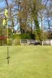 在高尔夫球领域的旗子 库存照片
