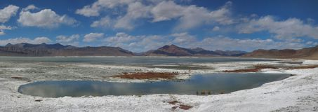 在高山中的Turquoise湖在背景中盐溶沙漠,山小山,在蓝天云彩,喜马拉雅山,全景 免版税库存照片