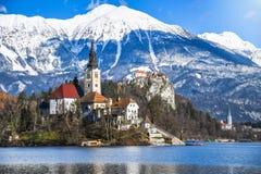 在高山湖中间的小自然海岛有教会的致力玛丽的假设和城堡与多雪的山 库存照片