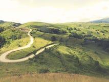 在高山的弯曲的柏油路 免版税图库摄影