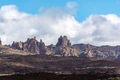 在高山的火山的熔岩荒野在西班牙登上泰德峰,Tenetife,加那利群岛,西班牙 库存照片