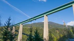 在高山谷的长和高桥梁 免版税库存图片