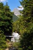在高山足迹的人行桥通过地狱峡谷,施拉德明,奥地利 库存照片