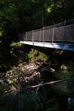 在高山足迹的人行桥通过地狱峡谷,施拉德明,奥地利 图库摄影