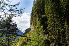 在高山足迹的吊桥通过地狱峡谷,施拉德明,奥地利 库存图片