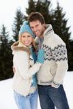 在高山雪场面的新夫妇 免版税库存照片