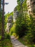 在高岩石中的路在AdrÅ ¡帕赫特普利采在Czechia晃动 库存照片