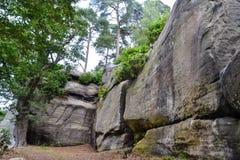 在高岩石, Tunbridge维尔斯,肯特,英国的岩层 库存照片