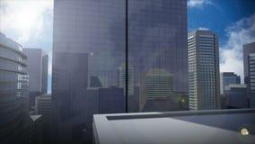 在高摩天大楼的明亮的天空 向量例证