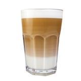 在高杯子的热奶咖啡有牛奶泡沫的 库存照片