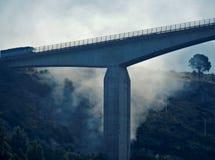在高架桥下的森林火灾 库存照片