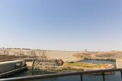 在高水坝-埃及的阿斯旺水坝 免版税库存图片