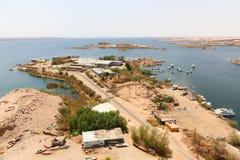在高水坝-埃及的阿斯旺水坝 免版税库存照片
