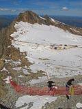 在高涨kitzsteinhorn的奥地利冰川之上 库存图片