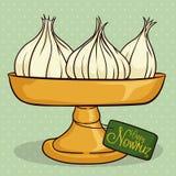 在高的平底锅的大蒜有Nowruz的贺卡的,传染媒介例证 向量例证