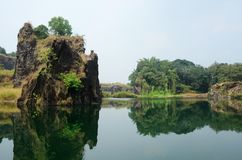 在高知,马拉巴尔海岸,南印度附近的美丽的湖 库存图片
