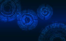 在高科技样式的抽象周期 深蓝背景,发光的元素 免版税图库摄影