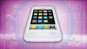 在高科技桃红色背景的白色智能手机 库存图片