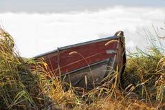 在高草靠码头的一个红色独木舟 库存图片