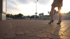 在高跟鞋的女性腿穿上鞋子走在都市街道 年轻女商人的脚高跟鞋类去的 影视素材