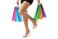 在高跟鞋的女性腿 库存照片