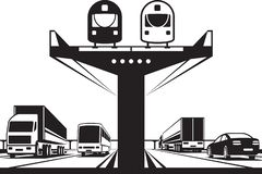 在高速公路上的铁路跨线桥 皇族释放例证