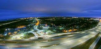 在高速公路互换的天线在绿湾威斯康辛附近 库存图片