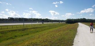 在高速公路旁边的足迹 库存照片