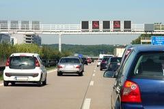 在高速公路的交通堵塞,在德国 免版税库存图片