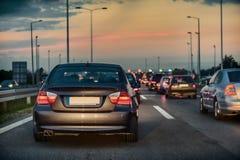 在高速公路的交通堵塞 库存图片