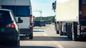 在高速公路的交通堵塞 图库摄影