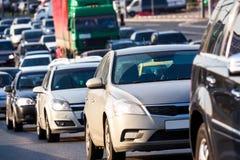 在高速公路的交通堵塞 免版税库存照片