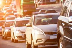 在高速公路的交通堵塞 库存照片