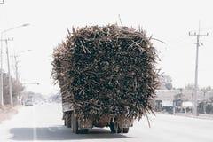 在高速公路的充分地被装载的甘蔗卡车 免版税库存图片