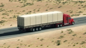在高速公路的大卡车 向量例证