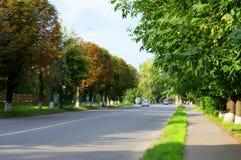在高速公路的快行车在街道 图库摄影