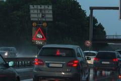 在高速公路的恶劣的天气 库存照片