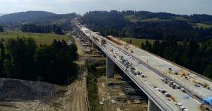 在高速公路的空中寄生虫视图建设中 影视素材