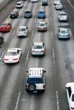 在高速公路的高峰时间交通在西雅图附近 免版税图库摄影