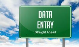 在高速公路路标的资料输入 免版税图库摄影
