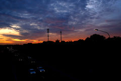 在高速公路3的日落 图库摄影