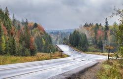 在高速公路60的降雨量在阿尔根金族公园 免版税库存照片